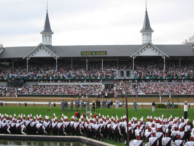 University_of_Louisville_marching_band,_Churchill_Downs_Twin_Spires