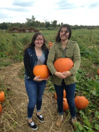 So my sister and I both found the perfect pumpkins, as you can see here. I picked mine right off the vine and it was super fresh. Also, it was very windy.