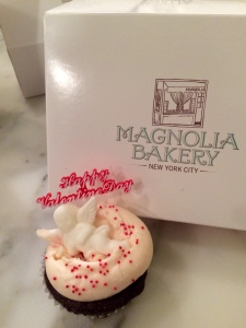 Our friend Mercedes ordered a Love Note cupcake, chocolate with butter cream icing and a sweet message on top.